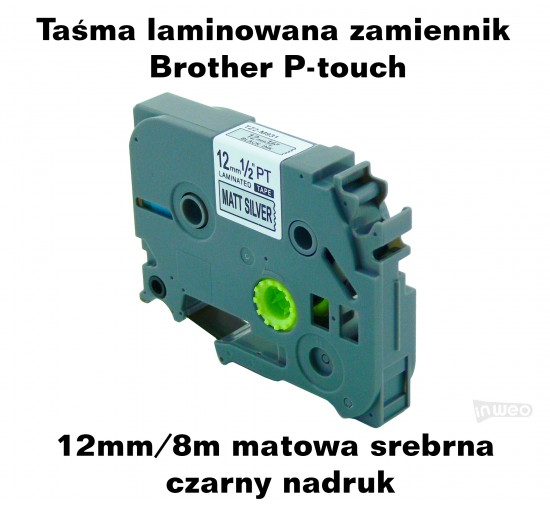 Taśma laminowana Brother P-touch TZ - 12mm/8m matowa srebrna czarny nadruk TZ2-M931 Produkty