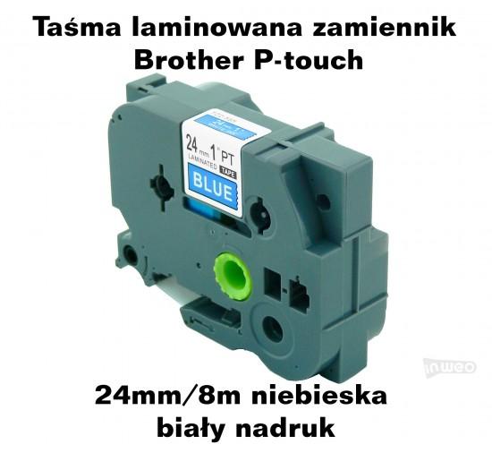Taśma zamiennik do Brother 24mm/8m niebieska biały nadruk TZ555