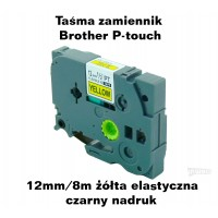 Taśma zamiennik do Brother 12mm/8m żółta elastyczna czarny nadruk TZ2-FX631 Produkty
