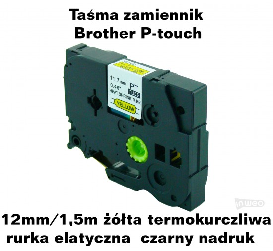 Rurka termokurczliwa zamiennik do Brother 12mm/1.5m żółta czarny nadruk HS2-631 Produkty