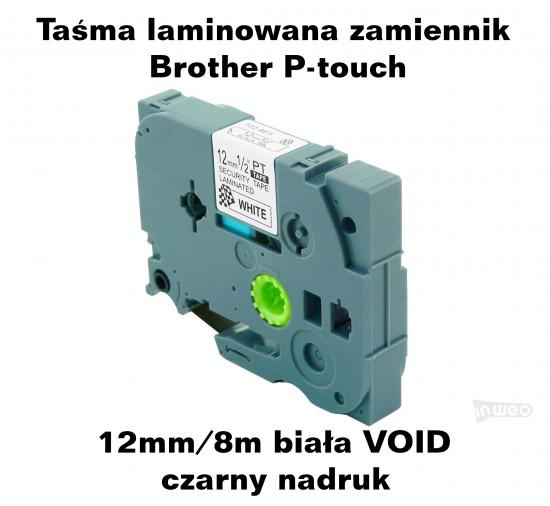Taśma laminowana Brother P-touch TZ - 12mm/8m biała VOID czarny nadruk TZ2-SE3 Produkty