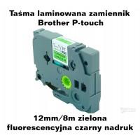 Taśma laminowana Brother P-touch TZ - 12mm/8m zielona fluorescencyjna czarny nadruk TZ2-D31 Produkty