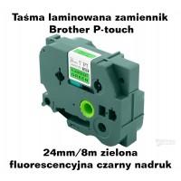 Taśma zamiennik do Brother 24mm/8m zielona fluorescencyjna czarny nadruk TZD51
