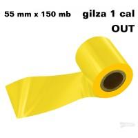 Żółta taśma termotransferow żywiczna do tekstyliów 55x150 OUT