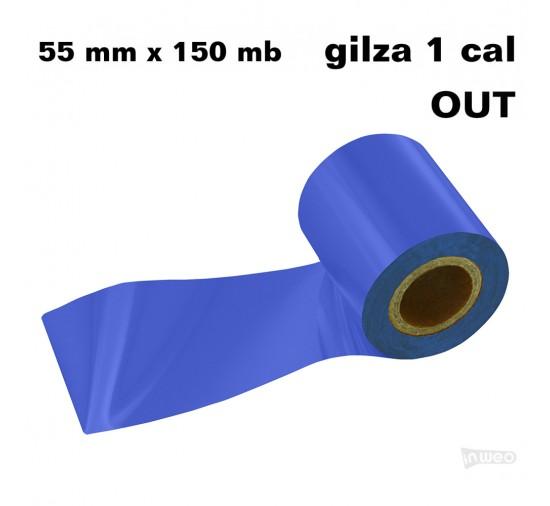 Błękit królewski taśma termotransferowa żywiczna do folii 55x150 OUT