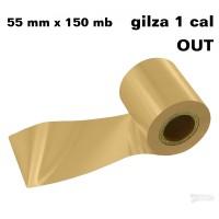 Złota półbłyszcząca taśma termotransferowa żywiczna do folii 55x150 OUT